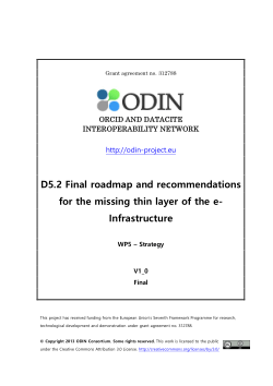 D5 2: Final Roadmap and recommendations for the missing