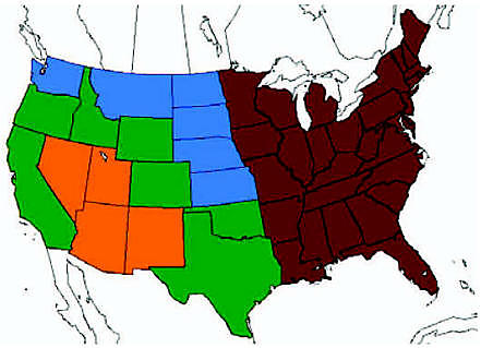 United States divided into four regions: four Southwest ...