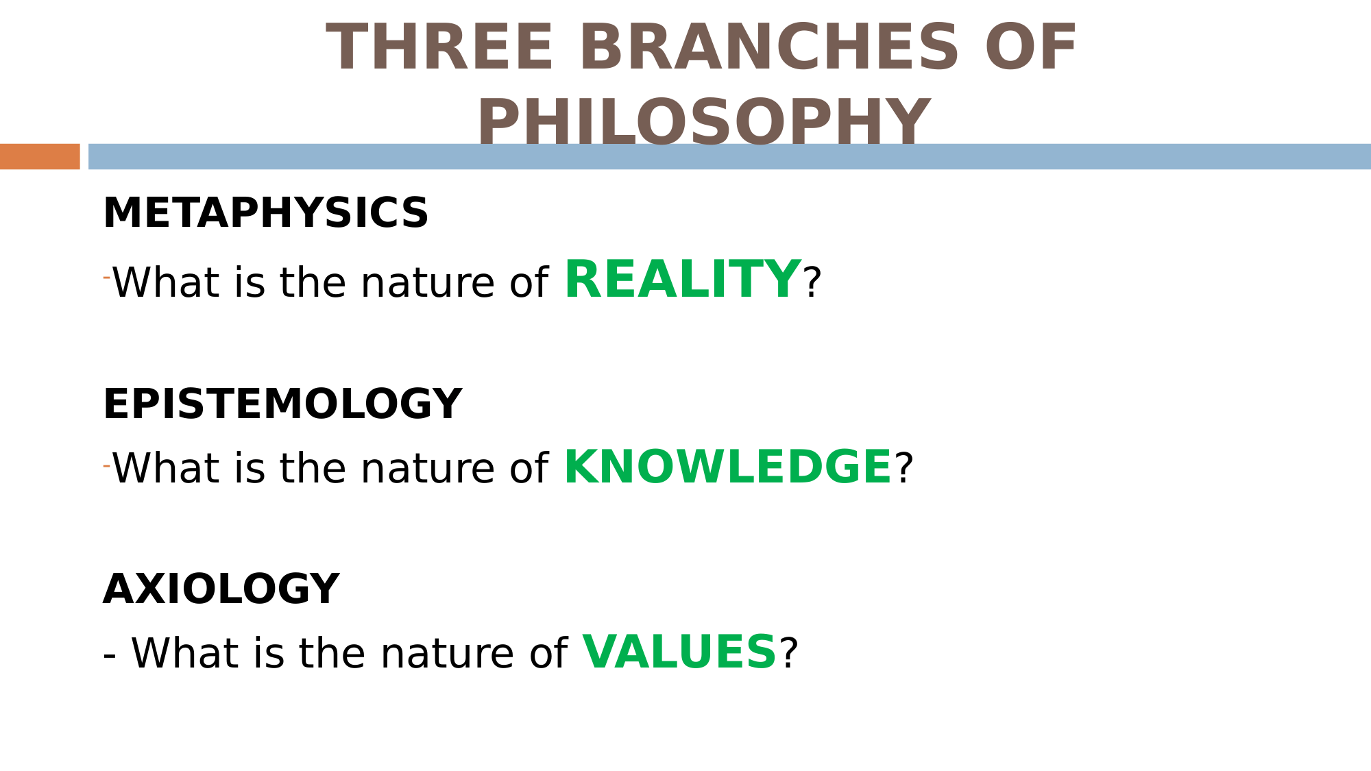branches of metaphysics