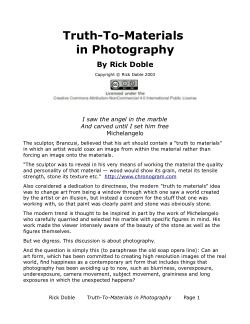 Rick Doble Thumbnail For Truthtomaterials In Photography An Early Essay About The  Potential High School Admission Essay also Example Essay English  Ghostwriting Services Denver