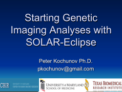 Starting Genetic Imaging Analyses with SOLAR-Eclipse