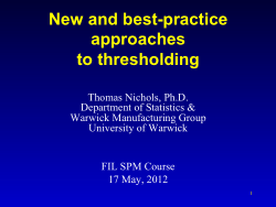 New and best-practice approaches to thresholding