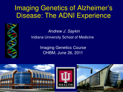Imaging Genetics of Alzheimer's Disease: The ADNI Experience