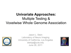 Univariate Approaches: Multiple Testing & Voxelwise Whole Genome Association