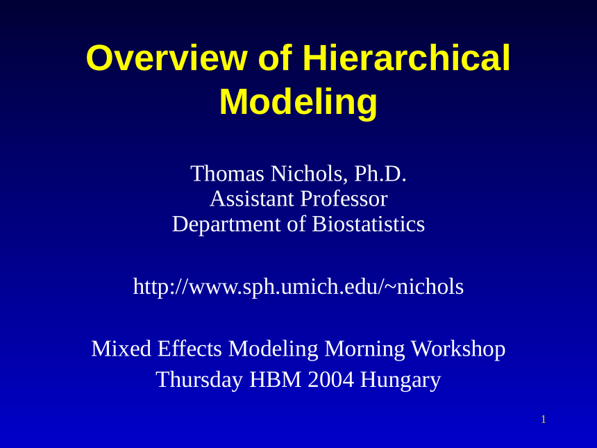 Overview of Hierarchical Modeling
