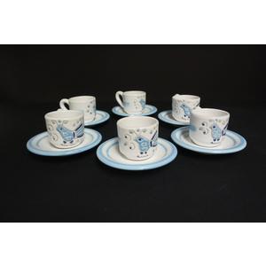 Servizio 6 tazzine caffè con piattini Linea Mare