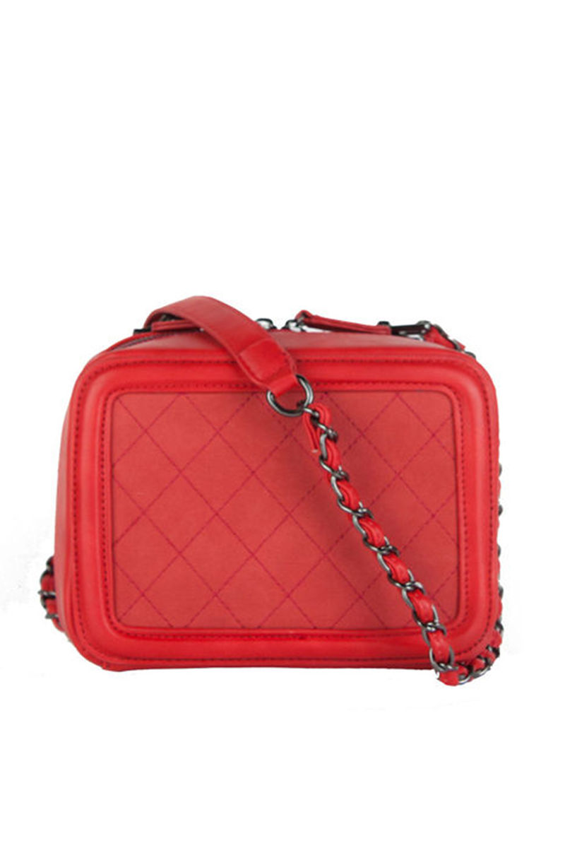 GEORGINA Red Quilted Box Bag With Chain Strap : red quilted bag - Adamdwight.com