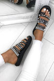 KHLOE Black Strappy Diamante Espadrille Sandals