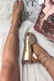 KENDALL Rose Gold Wrap Up Espadrille Flatform Sandals With Diamante Detail