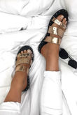 SUMMER Rose Gold Stud Slider Sandals With Silver Detail
