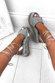 KENDALL Silver Wrap Up Espadrille Flatform Sandals With Diamante Detail