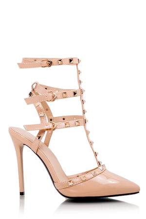 CAMILLA Nude Pointed Stud Stiletto Heels With Gold Studs
