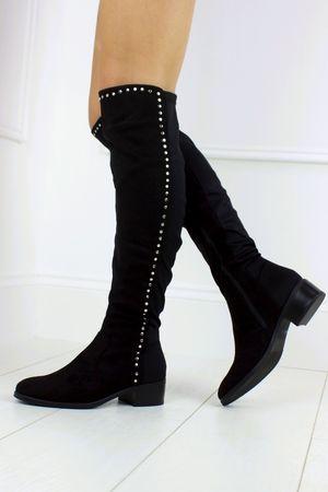 ALISHA Black Stud Knee Boot