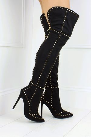 ANTONIA Black Stud Thigh Boots