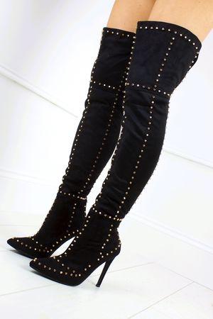 ANTONIA Black Stud Thigh Boots