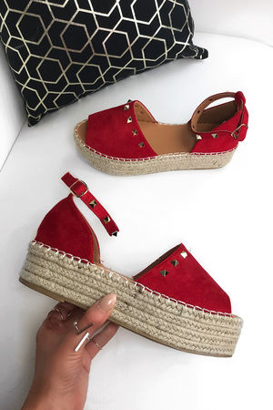 ARIA Red Stud Espadrille Flatforms