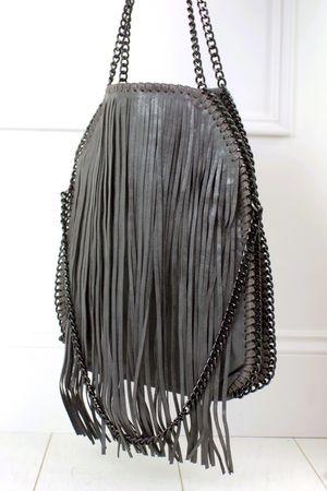 AVA Dark Grey Fringe Bag