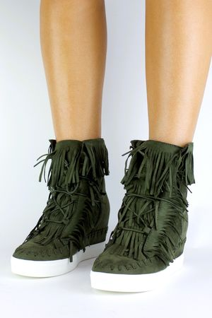 BAILEY Khaki Fringe Wedge Sneaker