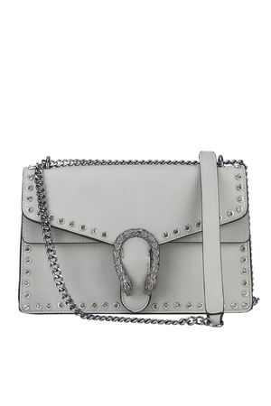 MELANIE Grey Jewel Shoulder Bag