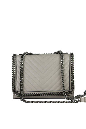 EVE Beige Quilted Chain Cross Body Bag