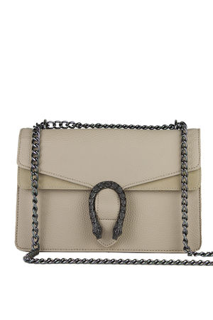 KAYLEIGH Beige Tiger Chain Shoulder Bag