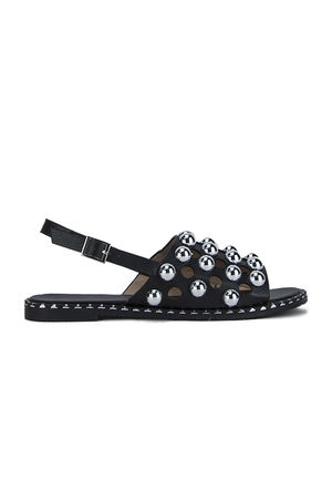 NICOLE Black Stud Sandals With Silver Detail