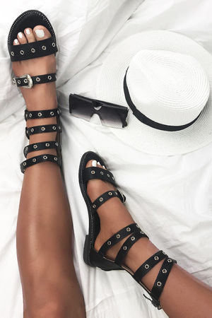 DELILAH Black Buckle Gladiator Sandals With Silver Detail