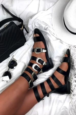 CIARA Black Buckle Gladiator Sandals With Silver Detail