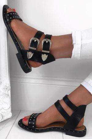 MARGO Black Stud Buckle Sandals With Silver Detail