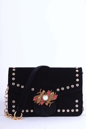 ELLEN Black Velvet Bumble Bee Cross Body Bag