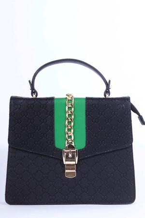 CALLY Black Embossed Satchel Chain Bag