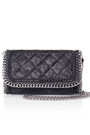 MYA Black Quilted Faux Suede Chain Clutch Shoulder Bag
