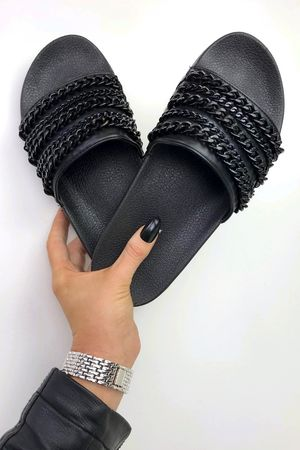 CAMERON Black Chain Slider Sandal