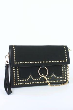 MISCHA Black Stud Clutch Bag