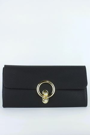 MILLIE Black Ring Detail Clutch Bag