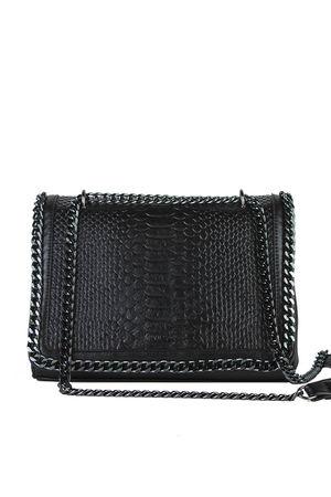 APRIL Black Faux Leather Crocodile Chain Bag