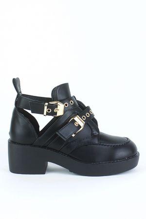 WINNIE Black Buckle Ankle Boot