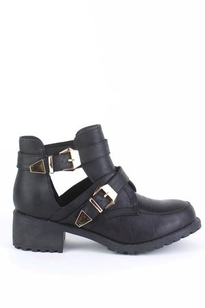 JESSIE Black Cut Out Ankle Boot