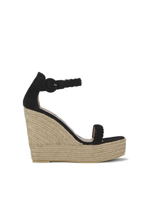 WILLOW Black Espadrille Wedges