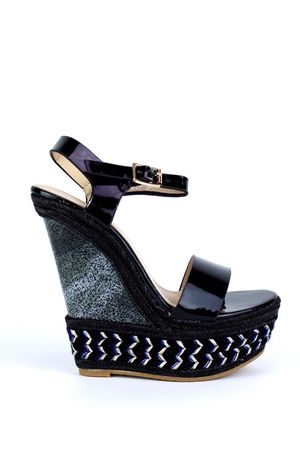 HARPER Black Braided Luxe Wedge
