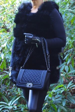 THEA Black Faux Fur Gilet