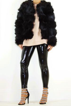 POLLY Black Faux Fur Jacket