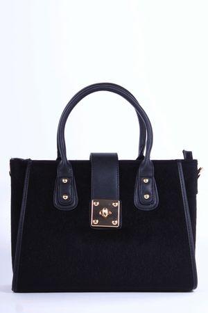 DARBY Black Faux Fur Tote Bag