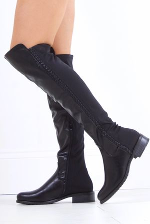 CHARLIE Black Braid Faux Leather Flat Over Knee Boot