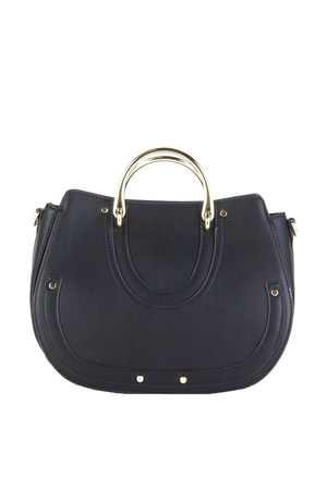 CANDICE Black Bucket Bag With Gold Detail
