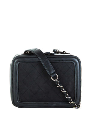 GEORGINA Black Quilted Box Bag With Chain Strap