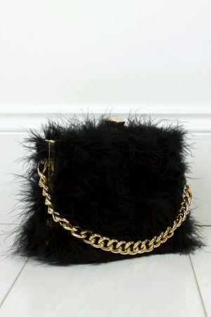FELICITY Black Feather Bag