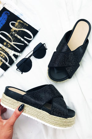 CARLI Black Flatform Sliders
