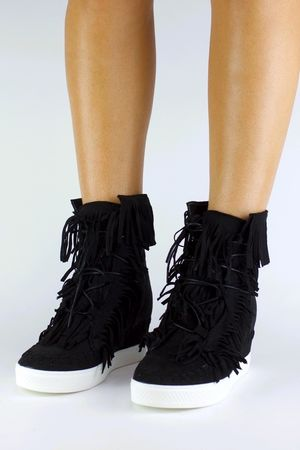 BAILEY Black Fringe Wedge Sneaker