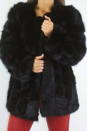ALANA Black Tiered Faux Fur Coat